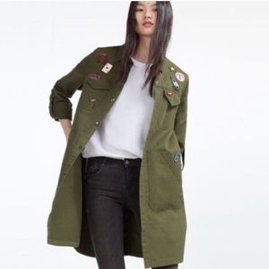 Zara Overshirt with Patches in Khaki Green